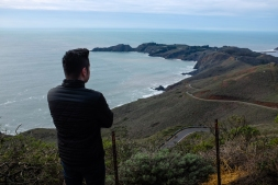 Me admiring the view of Conzelman Road from Hawk Hill in Sausalito, USA